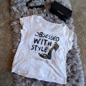 """Lane Bryant """"Obsessed with Style"""" white tee"""
